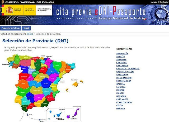 Pantalla selección de provincias solicitud cita previa dni Internet