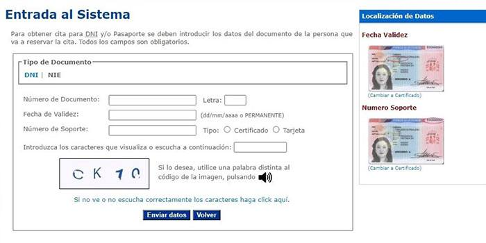 Pantalla entrada de sistema solicitud cita previa dni Internet con nie